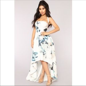 White Floral Print Lace Back Gown Hi Low Dress S